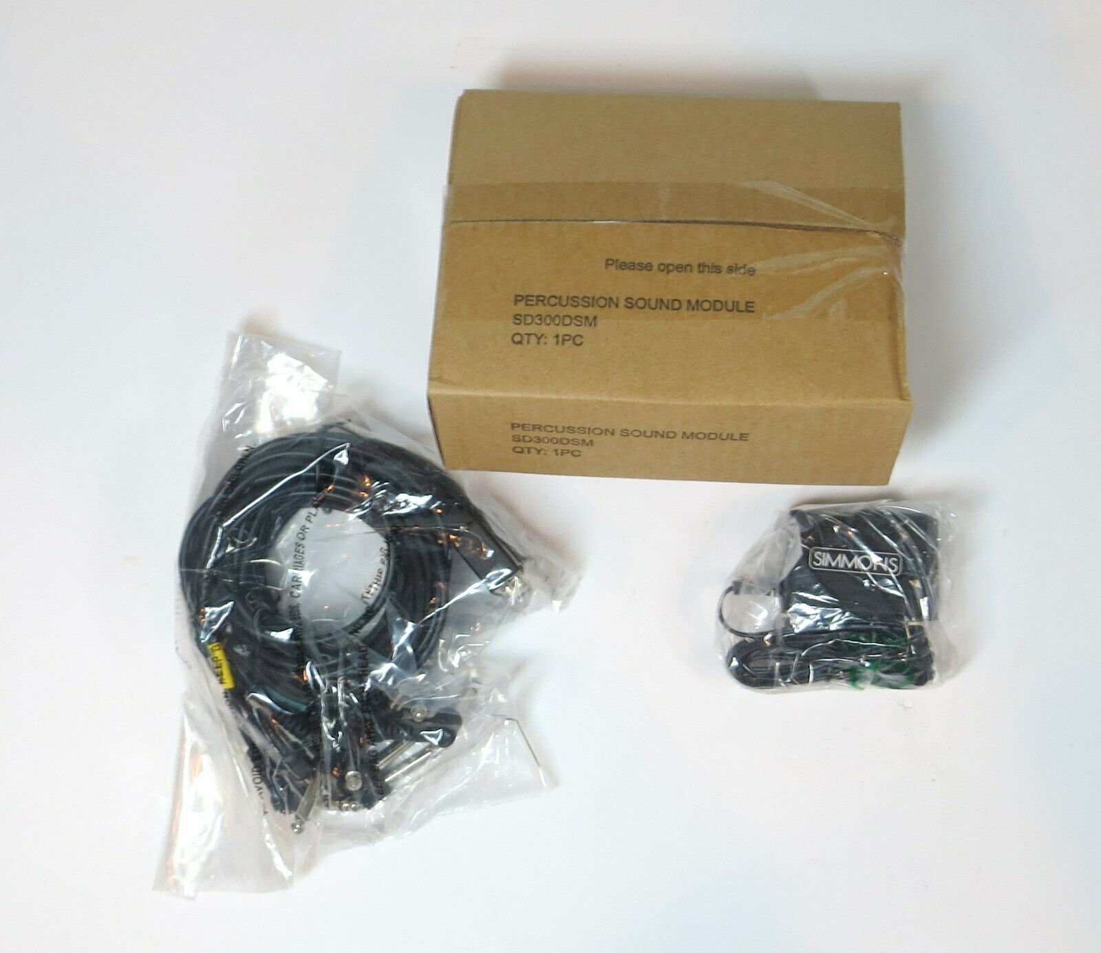 NEW   SIMMONS DRUM SOUND MODULE SD300SM & AC ADAPTOR & MULTI-PIN CABLE FAST SHIP