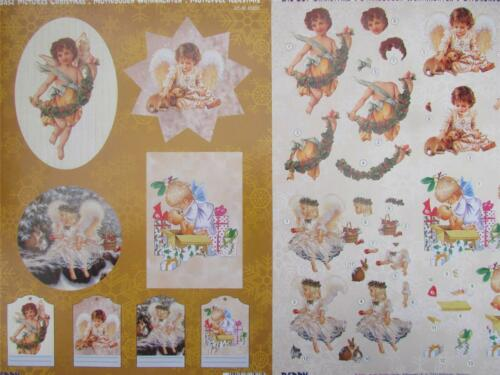 2 Pack Christmas Angles 4 Pictures plus Tags A4 3D Die Cut Sheet