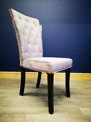 Purple Crushed Velvet Dining Chair Luxury Fabric Quilted Diamante Stud Detail