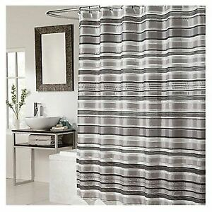 Glacier Fabric Shower Curtain Black Silver Combination For Sale