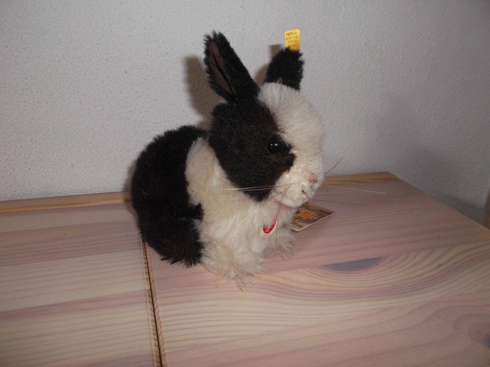 Steiff Hase Dormili Alpaca NEU m. Etikett 12 cm gross schwarz-weiss Rarität