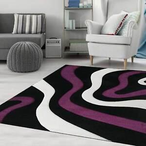 Moderner-Frisee-Designer-Teppich-Wohnzimmer-mit-Wellen-Konturen-Schwarz-Lila-NEU