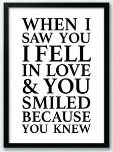 When-I-Saw-You-I-Fell-In-Love-Typography-Art-Print-Poster-Inspirational-Love-v2