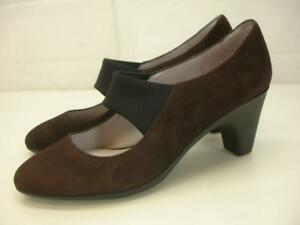 Women-039-s-sz-8-5-M-Johnston-amp-Murphy-Denise-Mary-Jane-Heels-Brown-Suede-Pump-Shoes