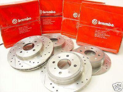 92-95 Honda Civic SI F+R Drilled//Slotted Rotors Free SH