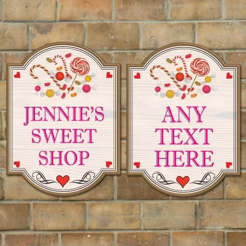 Personalised Sweet Shop Sign,Mädchen's Wendy House Sign, Vintage wooden style sign