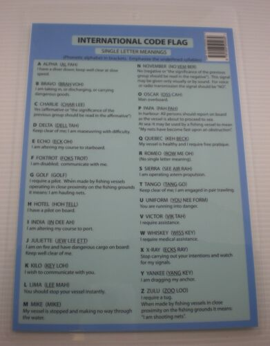 YACHT QS22 BOAT COCKPIT CARD INTERNATIONAL CODE FLAGS