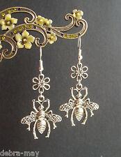 Pretty Big Honey Bee & Flower Dangly Earrings