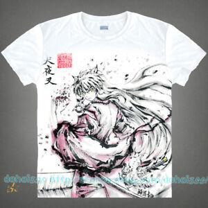 Shirts-Cos-White-Anime-InuYasha-Unisex-Men-Casual-Short-Sleeve-T-Shirt-Tops-C26