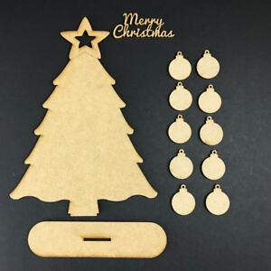 MDF Wooden Family Tree Set with Baubles Christmas Tree BAUBLE TREE KIT STAND