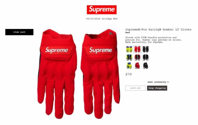 Supreme Fox Racing Bomber LT Gloves XL Multicolor Ss18 In Hand
