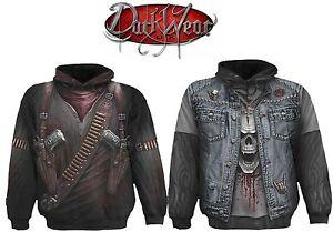 Spiral Direct Thrash Metal Denim Jacket Biker Rocker Black Hoodie Hooded Top