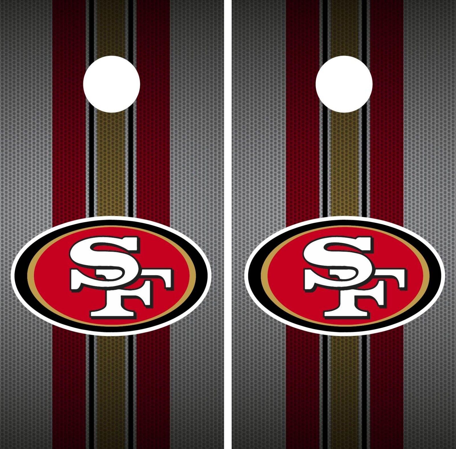 San Francisco 49ERS Cornhole Wrap NFL Team  Flag Game Skin Board Set Vinyl CO116  simple and generous design