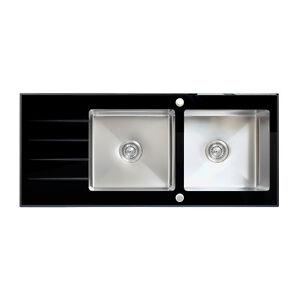 ENKI Black Glass Kitchen Sink 2.0 Two Bowl Drainboard Inset ...