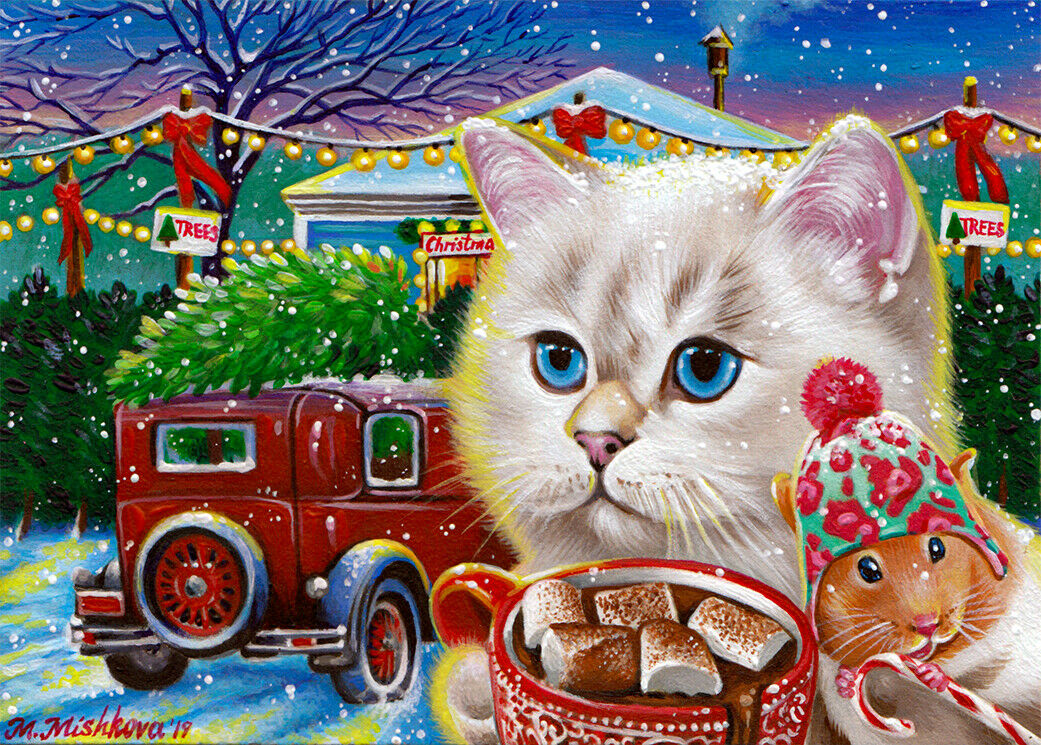 Limited Edition ACEO PRINT Cat Mouse Christmas Tree Holiday Winter M. Mishkova