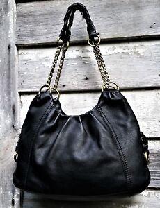 THE SAK Black PEBBLED Leather Chain Braided Strap Shoulder Bag TOTE ... 94592d4ddb