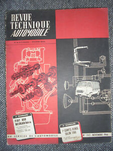 Dynamique ★ Revue Technique Automobile N°247 Novembre 1966 Tbe ★ Fiat 850 Citroen 2cv ★ Haute SéCurité