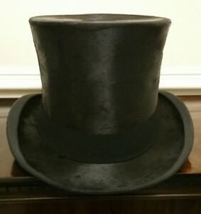 Image is loading Rare-Extra-Large-Vintage-Silk-Top-Hat-Scott- aa3ede850eb