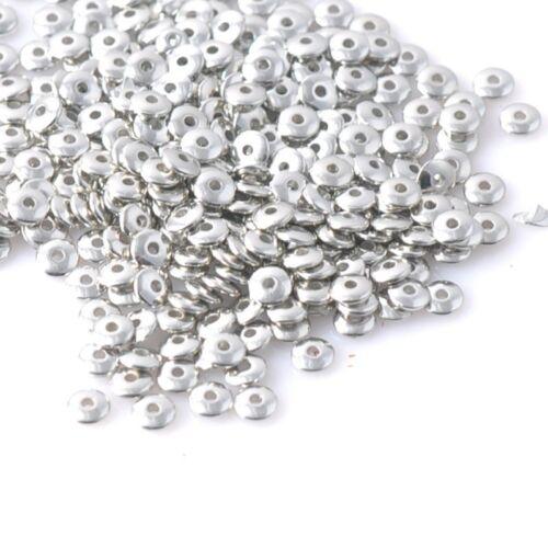 6mm Perle rondelle 6mm x 2mm 30 Perles intercalaires argenté acrylique