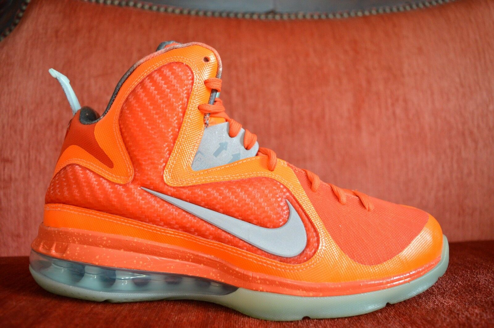 WORN TWICE Nike Lebron 9 Elite orange AS Galaxy Big Bangs 520811 800 Size 8.5