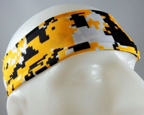 NEW Super Soft Yellow Black Digital Camo Headband Sports Running Workout Hair