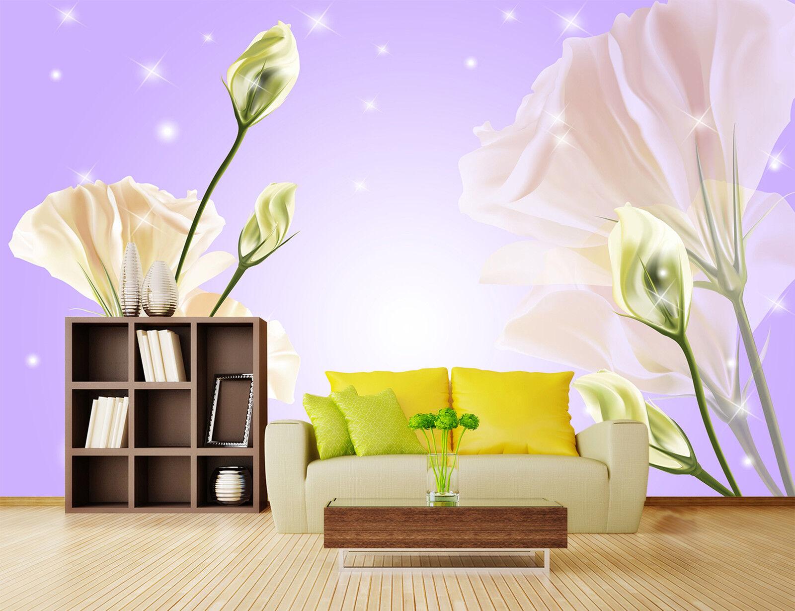 3D whitee Nelken Fototapeten Wandbild Fototapete Bild Tapete Familie Kinder