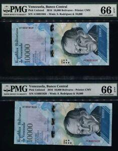 2016-VENEZUELA-10000-BOLIVARES-034-RODRIGUEZ-034-PMG66-EPQ-GEM-UNC-SET-OF-2-Prefix-A