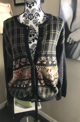 VTG Herman Geist Sweater Cardigan Black  Wool Embr