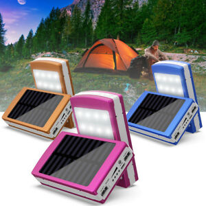 20000mAh Solar Dual USB Charge Battery Power Bank Box LED Flashlight Camping DIY