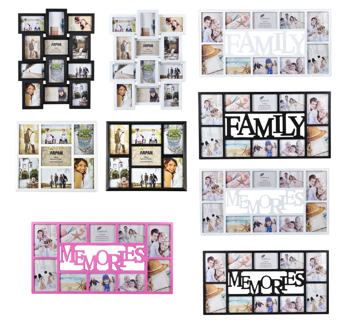 Arpan Multi Image Aperture Photo Frames Multi-Picture 6x4, 5x7 Holds ...
