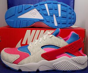 Nike Air Huarache Run Prime Fleece iD White Red Blue Pink SZ 9.5 ( 777330-993 )