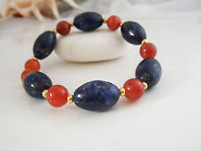 Pretty Lapis Lazuli and Red Stripe Agate Stretchy Bracelet, Jewellery, UK Seller