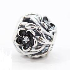 BLACK MYSTIC FLOWER .925 Sterling Silver European Charm Bead FL2
