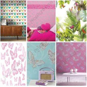 Das Bild Wird Geladen Maedchen Schlafzimmer  Schmetterling Tapete In Rosa Weiss Tuerkis
