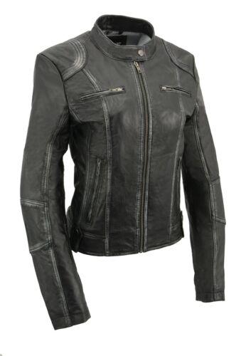 SFL2830** Black Milwaukee Leather Women/'s Sheepskin Scuba Style Moto Jacket
