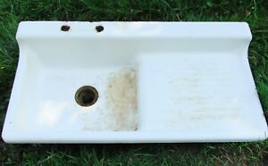 Vintage 42 Quot Farmhouse Kitchen Sink White Porcelain Enamel