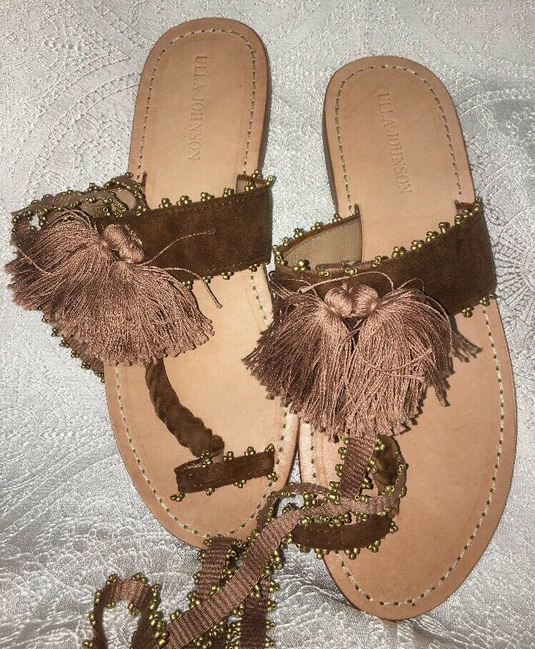 Ulla Johnson Sandle Brown Suede Tassel Thong Ties Up  Size 40 NEW