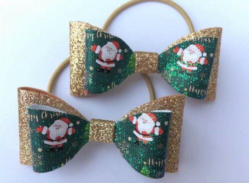 Pair of Christmas Hair Bow Elastic Bobbles Dark Green Rose Gold Santa Glitter