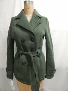 Jou Jou Juniors Belted Double Breasted Fleece Trench Coat XL Green