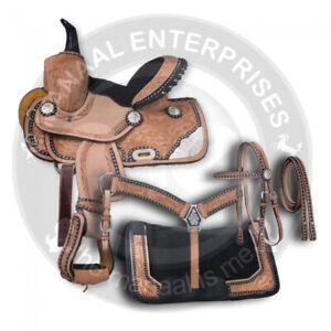 Beautiful-Premium-Leather-Western-Barrel-Racing-Horse-Saddle-Tack-Size-14-to-18