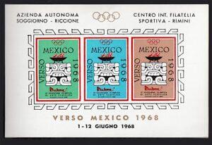 FOGLIETTO ERINNOFILO VERSO MEXICO 1968 FILATELIA SPORTIVA BRACIERE ...