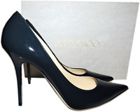 Jimmy Choo 'abel' Pointy Toe Pump Navy Patent Leather Heel Shoe 39.5- 9