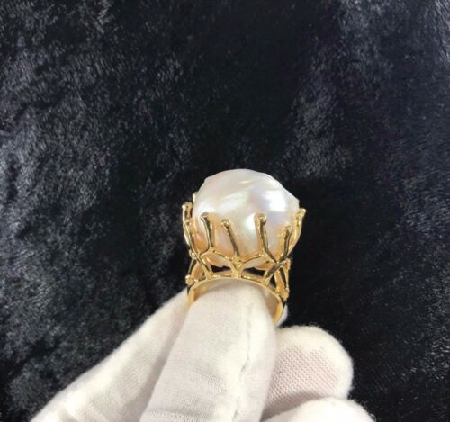 NATURAL RARE JUMBO BAROQUE 35x23 WHITE PEARL YELLOW GOLD 925 SILVER RING SIZE 9