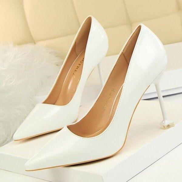 Pumps Damenschuhe Weiß Braut Elegant Stilett 9.5 Leder Kunststoff 8373