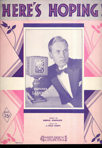 "Lanny Ross Notenblatt "" Here's Hoping !"" 1932 Neueste Mode Musikinstrumente Noten & Songbooks"
