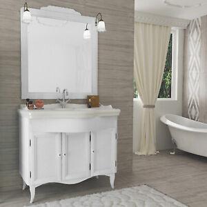 Mobile bagno classico decap 3 ante bianco legno con lavabo ceramica e specchio ebay - Mobile bagno classico bianco ...