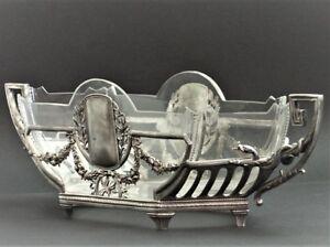 WMF-Jugendstil-Art-Nouveau-Jardiniere-Snake-Center-Piece-Crystal-Insert-XL-108