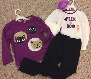 NWT Gymboree 4pc LOT 2T OUTFIT Purple Peek A Boo Top Kitty Black Pants Hair