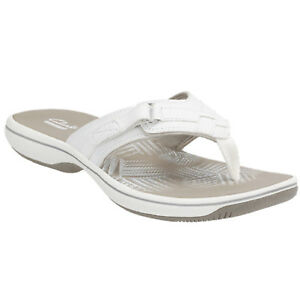 6ccffb7f9be3 Women s Clarks BREEZE SEA 26125508 White Slip-on Thong Sandal Shoes ...