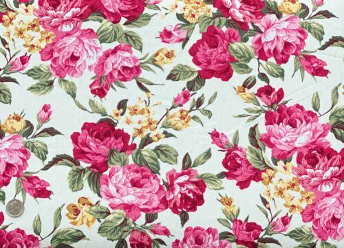 100/% Cotton Poplin Fabric Belleboo Swindon Roses Yellow Flower Floral Flowers